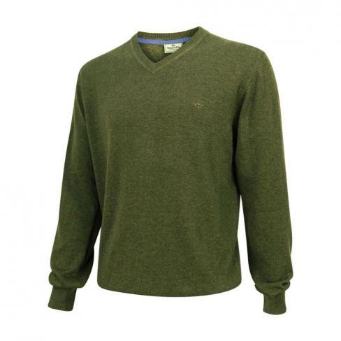 Stirling V Neck Cotton Pullover Olive
