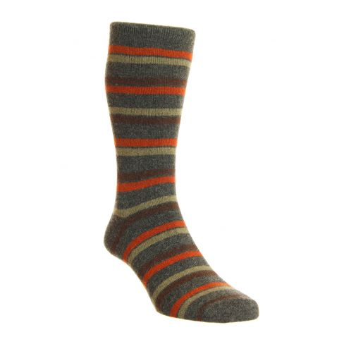 Dress Socks London Stripe Merino Wool Chocolate
