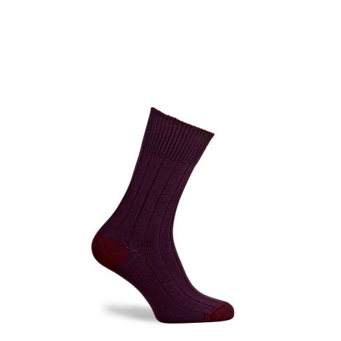 Dartmoor Merino Wool Mid Length Boot Socks Burgundy