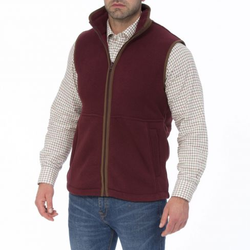 Alan Paine Aylsham Gents Fleece Gilet - Bordeaux