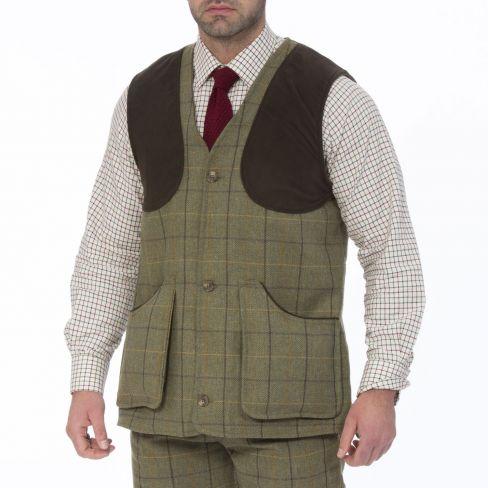 Rutland Tweed Shooting Waistcoat - Dark Moss
