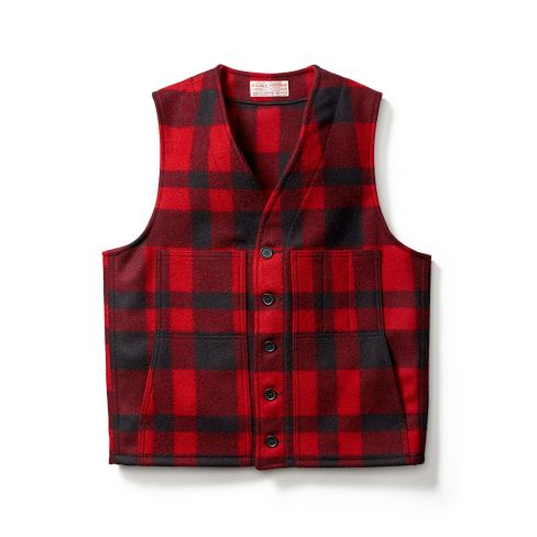 Filson Mackinaw Wool Vest - Red Black Check