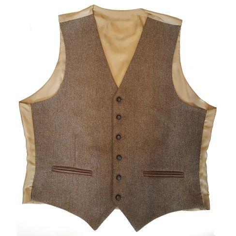 Bray Tweed Herringbone Waistcoat - Biscuit Herringbone