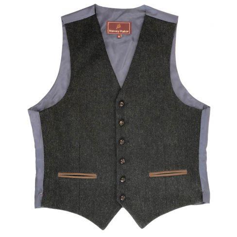 Bray Tweed Herringbone Waistcoat - Navy