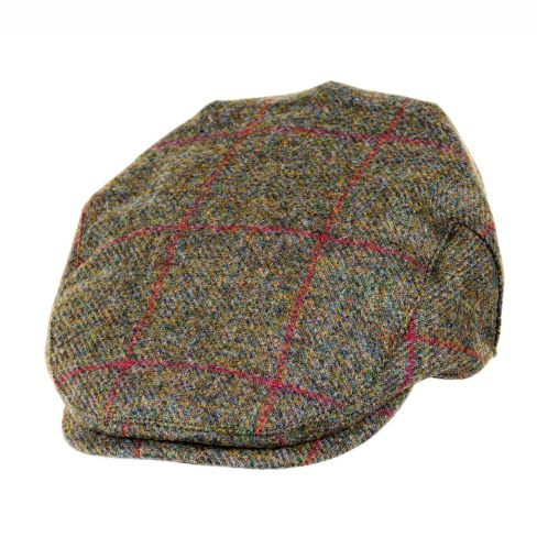 Chapman Tweed Flat Cap Brown/Red Check