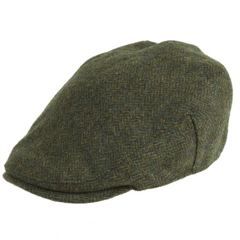 Chapman Tweed Flat Cap Green Herringbone
