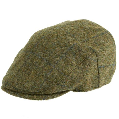 Chapman Tweed Flat Cap Navy Over Check