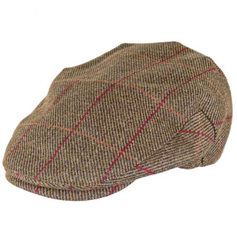Kinloch Waterproof Tweed Cap Mid Olive/Red