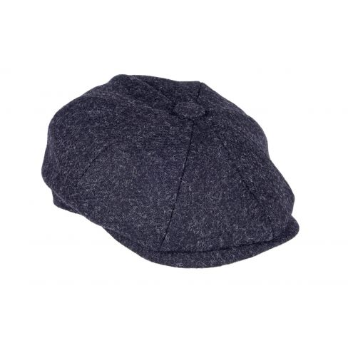 Twill Tweed 8 Piece Cap - Black