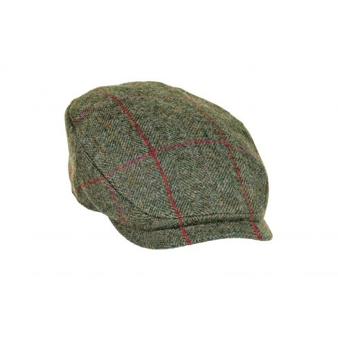Extended Peak Tweed Cap - Green/Wine