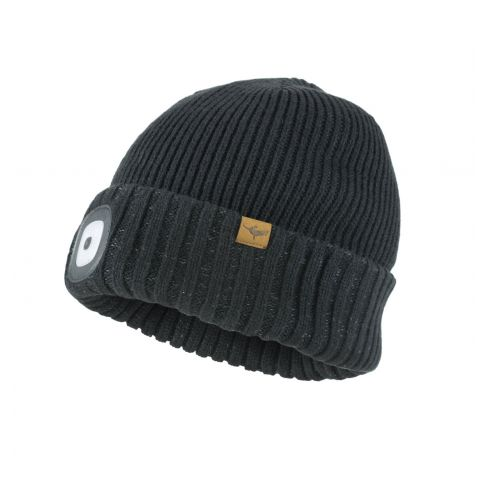 Sealskinz Waterproof LED Roll Cuff Beanie Hat Black
