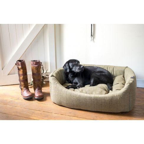 Country Tweed Rectangle Dog Bed - Green