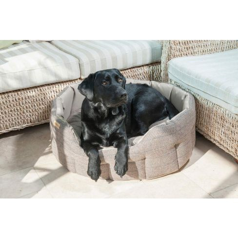 Traditional Tweed & Water Resistant Dog Bed Beige