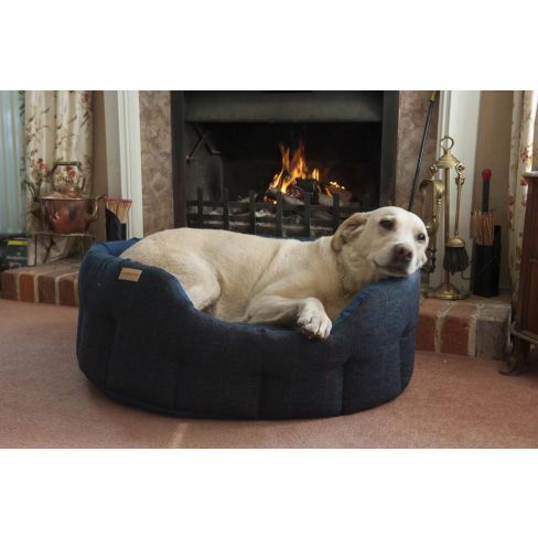 Traditional Tweed & Water Resistant Dog Bed - Navy