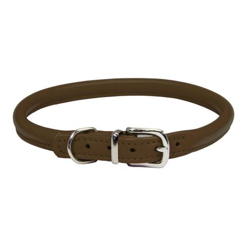 Rolled Leather Dog Collar - Brown
