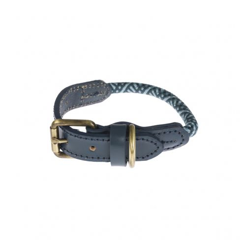 Smart Rope and Leather Trim Collar - Teal