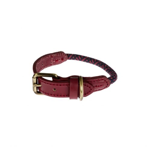 Smart Rope and Leather Trim Collar - Red