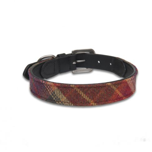 Islay Tweed and Leather Collar Glen Red