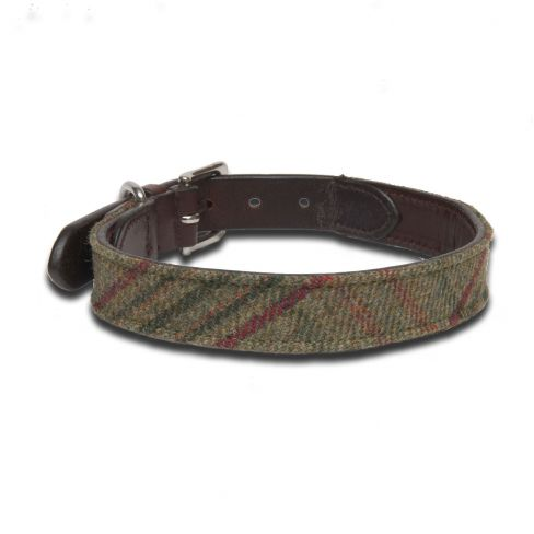 Islay Tweed and Leather Collar - Green Islay