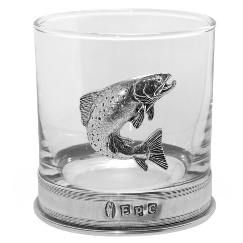 Salmon Glass and Pewter Tumbler Set