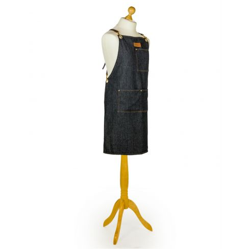 Artisian Canvas Slave to the Stove Apron with Leather Straps - Denim Blue