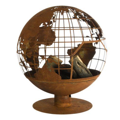 FIRE GLOBE LASER CUT WORLD GLOBE