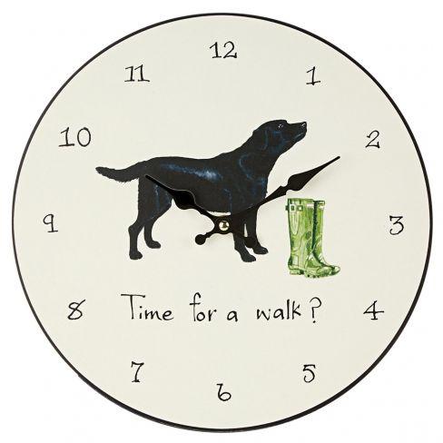 """Time for a Walk"""" Black Labrador Clock"""