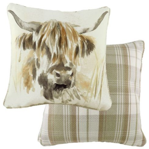 Woodland Animals Piped Cushion - Highland Cow