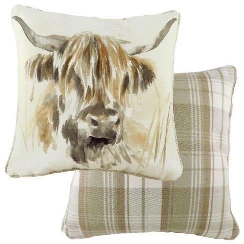 Woodland Animals Piped Cushion - Highland Cow