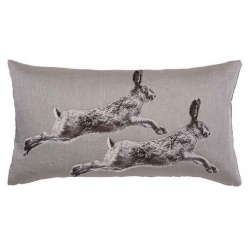 Leaping Hares Linen Cushion - 33 x 60cm