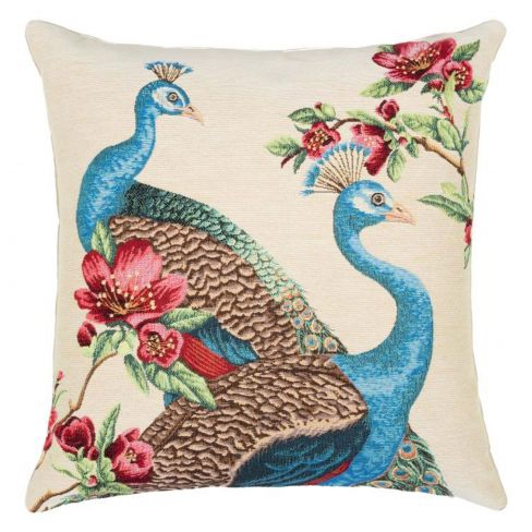 Tapestry Cushion Peacock and Flowers