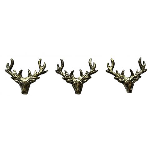 Stag Candle Pins Set of 3 - Vintage Gold Finish
