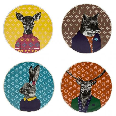 """After Dark"" Woodland - 4pk Ceramic Coasters"