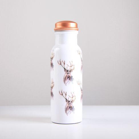 Stag Pattern Copper Water Bottle 750ml