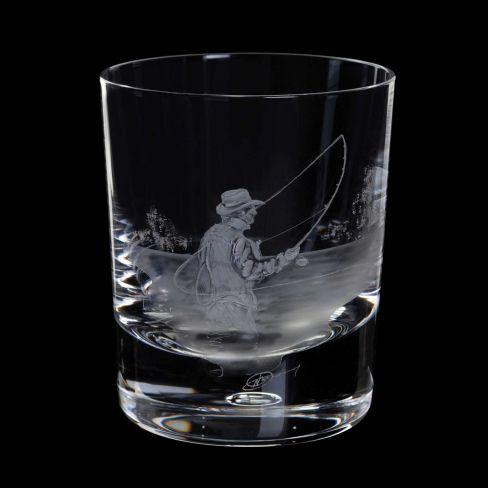 Dartington Engraved Tumbler - Fly Fisherman