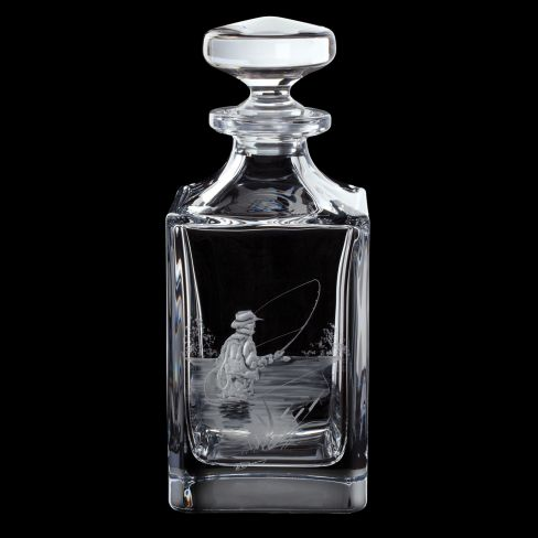 Dartington Engraved Square Decanter - Fly Fisherman