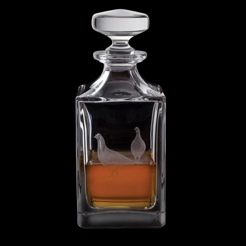 Dartington Engraved Square Decanter - Game Grouse