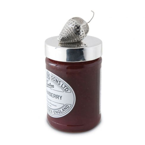 Silver Plated Fruit Jam Jar Lids - Strawberry