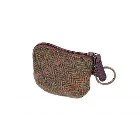 British Tweed Coin Purse - Green/Lilac