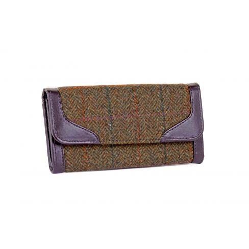 Ladies Tweed Wallet - Green/Lilac