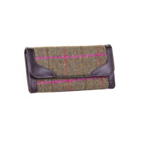 Ladies Tweed Wallet - Olive/Cerise