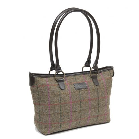 Traditional British Tweed Tote Bag - Olive/Cerise