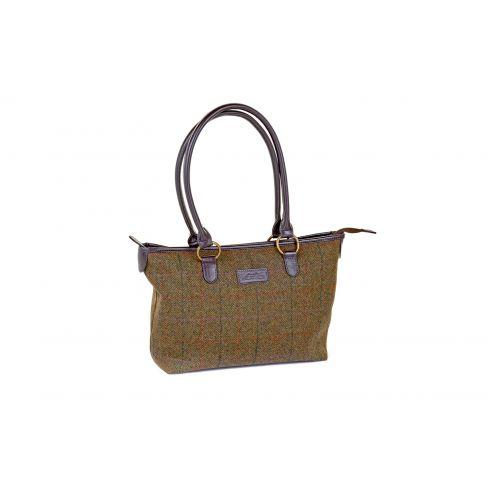 Traditional British Tweed Tote bag Green/Lilac Check