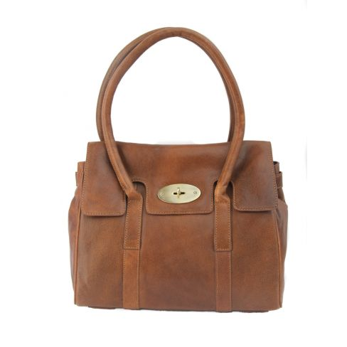 Large Leather Classic Handbag Tan