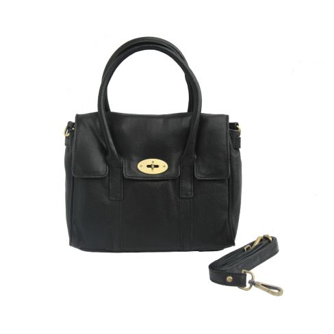 Medium Leather Classic Handbag Black