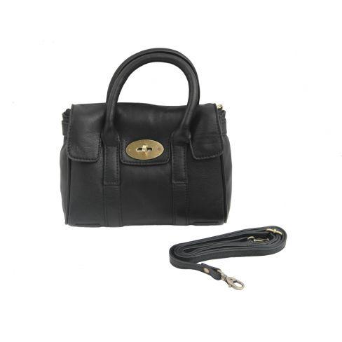 Small Leather Classic Handbag Black