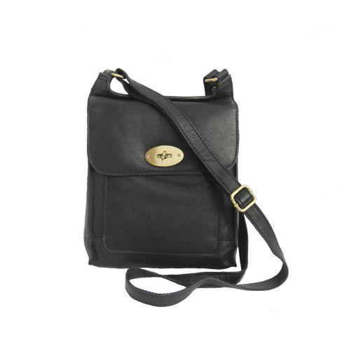 Leather Cross Body Bag Black