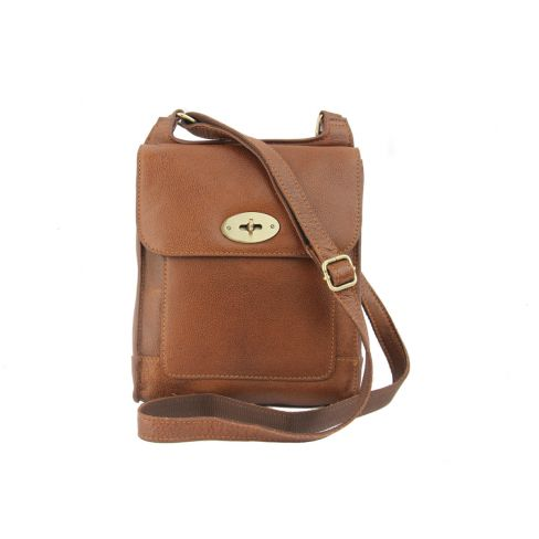 Leather Cross Body Bag Tan