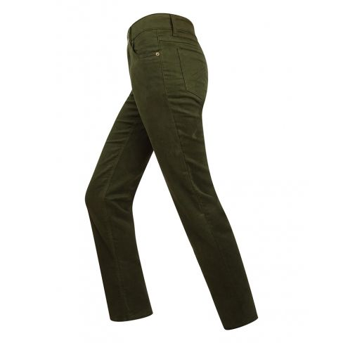 Ladies Straight Leg Stretch Moleskin Jeans Dark Olive