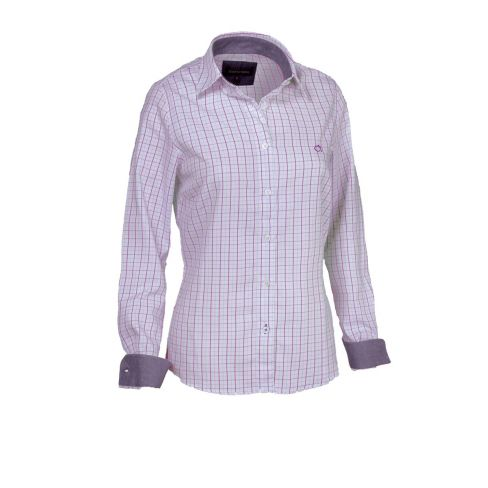 Nina Ladies Cotton Shirt With Contrast Collar and Cuffs Pink